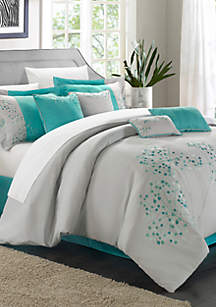 Turquoise Floral 12-Piece Complete Bedding Set with Sheets