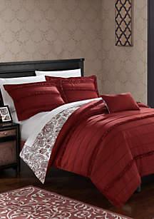 Eliza Reversible Duvet Set - Red