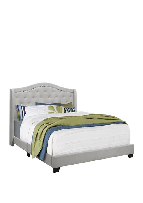 Light Pastel Gray Queen Size Bed Frame and Wing Back Headboard