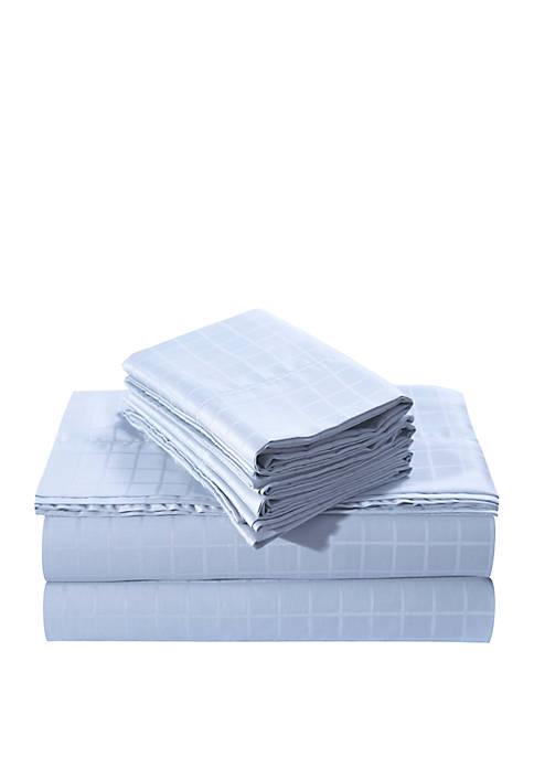 Windowpane Dobby Cotton 6-Piece Deep Pocket Sheet Set
