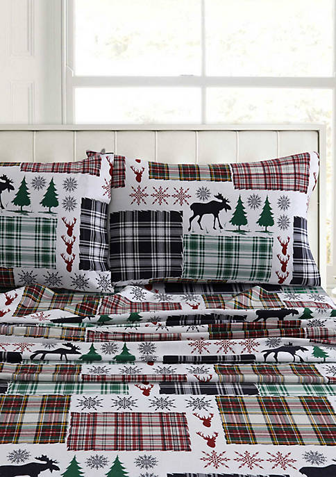 Tribeca Living Christmas Eve Snowflakes Flannel Extra Deep