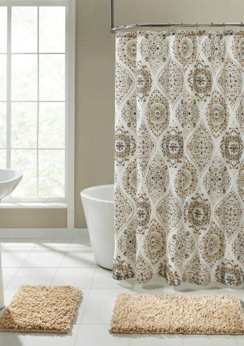 Tan Ogee Shower Curtain Set