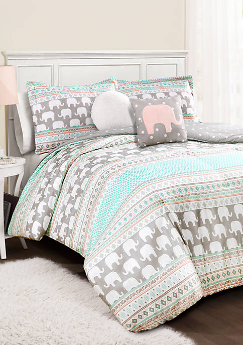 Lush Decor Elephant Stripe Reversible Comforter Set