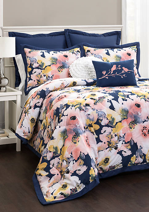 Lush Decor Floral Watercolor Comforter Set