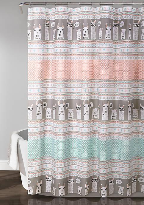 Llama Stripe Shower Curtain
