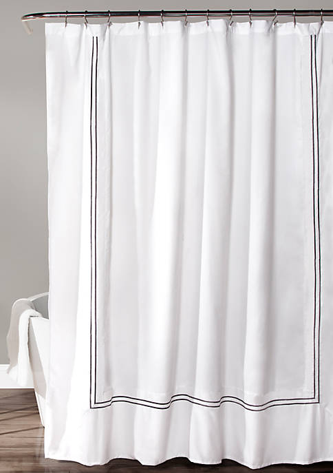 Hotel Collection Shower Curtain-White/Gray