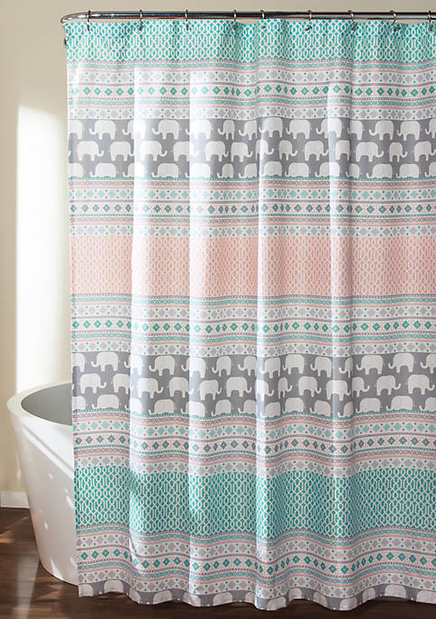 Elephant Stripe Shower Curtain Turquoise/Pink 72 in x 72 in