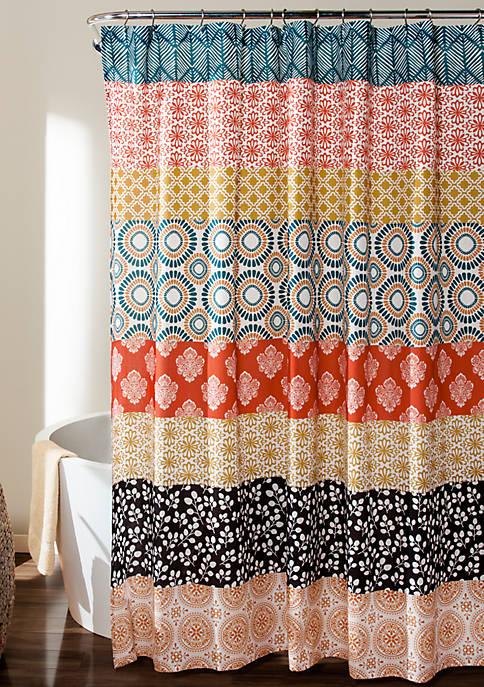 Lush Decor Bohemian Stripe Shower Curtain Turquoise/Orange 72
