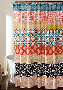 Lush Decor Bohemian Stripe Shower Curtain Turquoise/Orange 72 in x 72 in