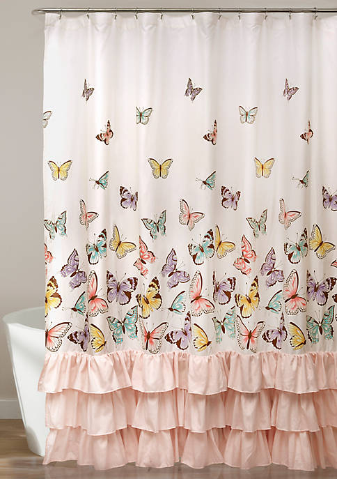 Flutter Butterfly Shower Curtain-Pink 72 in x 72 in