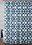 Geo Shibori Shower Curtain Navy 72 in x 72 in