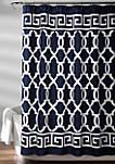 Maze Border Shower Curtain Navy 72 in x 72 in