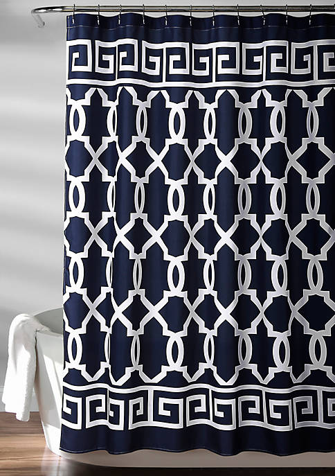 Lush Decor Maze Border Shower Curtain Navy 72