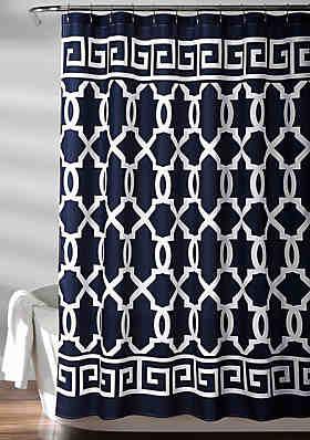 Lush Decor Maze Border Shower Curtain Navy 72 In X