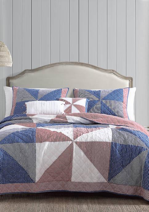 Heirloomed Americana Pinwheel 3 Piece Quilt Set