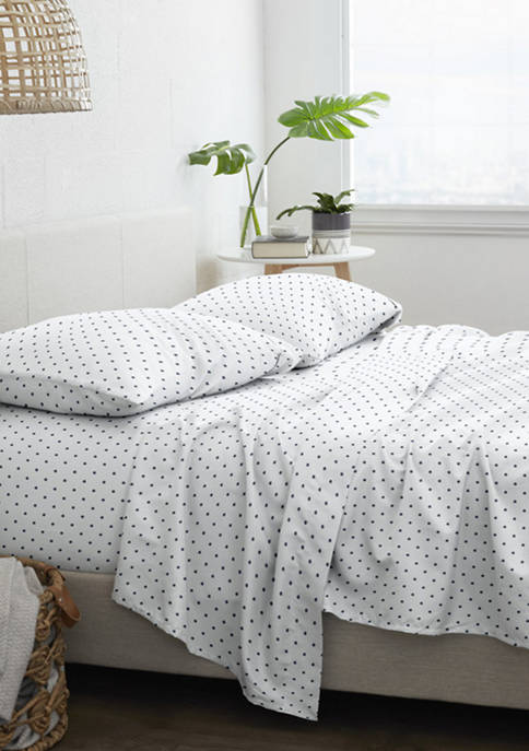 Premium Ultra Soft Dots Pattern 4 Piece Bed Sheets Set
