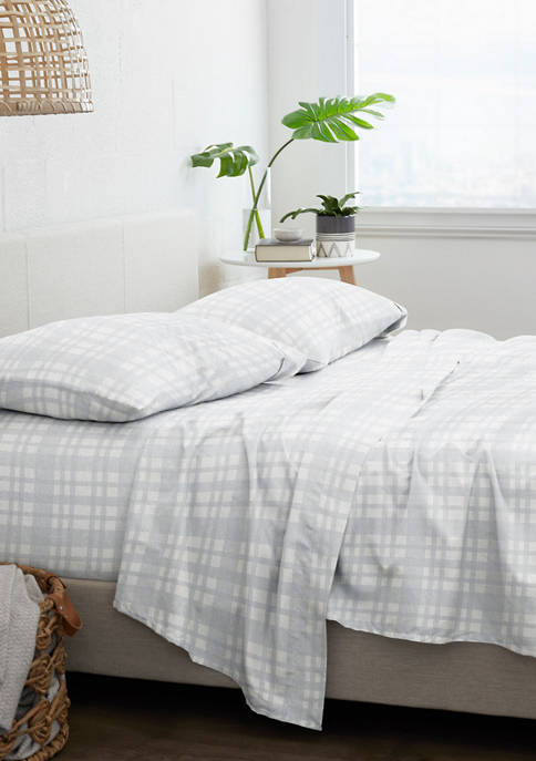 Home Collection Premium Woven 4 Piece Flannel Bed