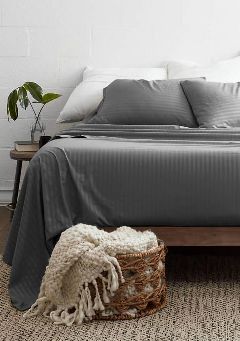 Luxury Inn Premium Striped Embossed 4 Piece Bed