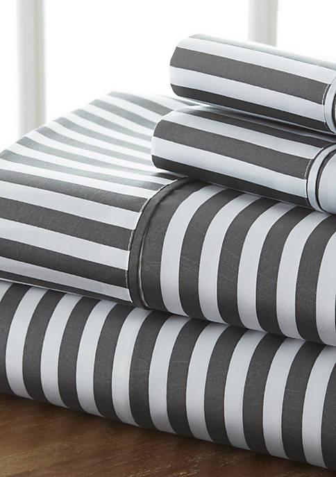 Premium Ultra Soft Ribbon Pattern 4 Piece Bed Sheet Set