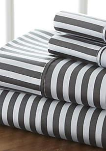 Luxury Inn Premium Ultra Soft Ribbon Pattern 4 Piece Bed Sheet Set