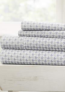 Luxury Inn Ultra Soft Hounds Tooth Pattern 4 Piece Bed Sheet Set