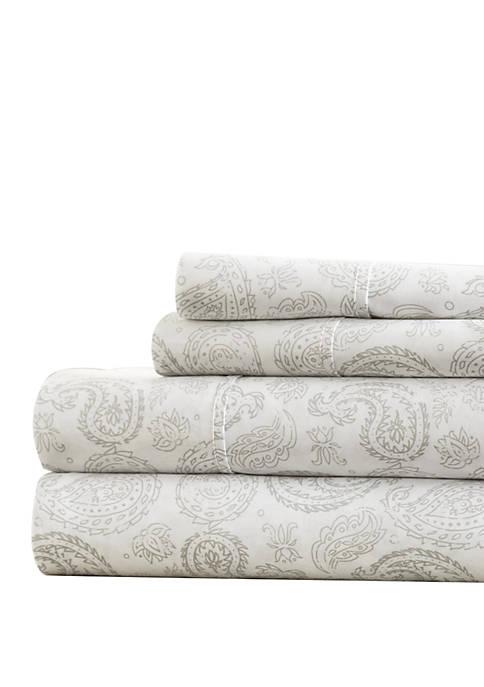 Premium Ultra Soft Coarse Paisley Pattern Bed Sheets Set