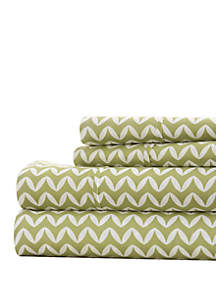 Luxury Inn Premium Ultra Soft Puffed Chevron Pattern 4 Piece Bed Sheet Set