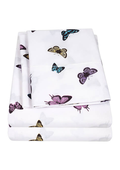 Sweet Home Collection Kids Butterflies Sheet Set- Blue,