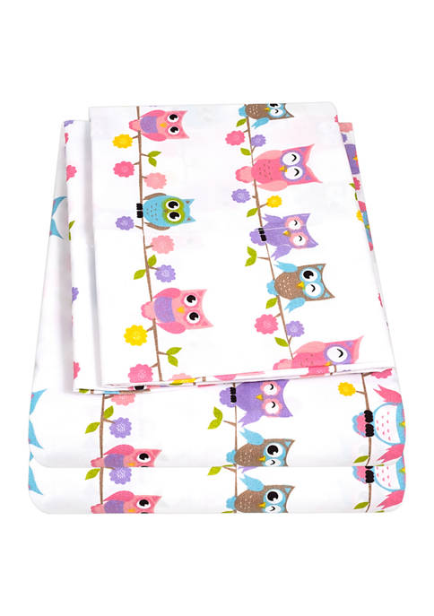Sweet Home Collection Kids Colorful Owls Sheet Set