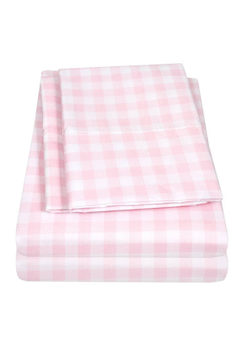Sweet Home Collection Kids Pink Gingham Pattern Sheet
