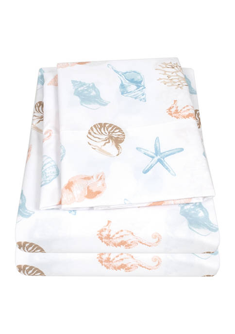 Sweet Home Collection Kids Seashells Coral Seahorse Sheet