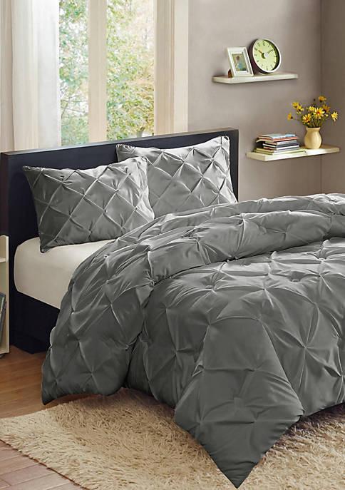 Luxury 3 Piece Pinch Pleat Pintuck Duvet Cover and Pillow Sham Set