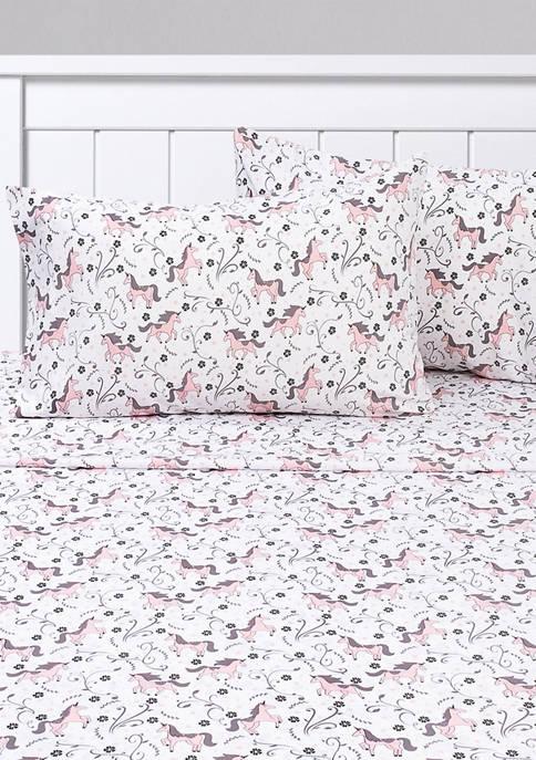 Prancing Unicorns & Stars White Pink Kids Sheet Set