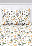 Wild Kingdom Animals Giraffe, Rhino, Lion Kids Sheet Set