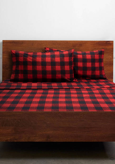 Sweet Home Collection Buffalo Plaid Black Red 4
