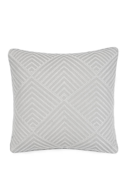 Normandy Embroidered Geometric Throw Pillow