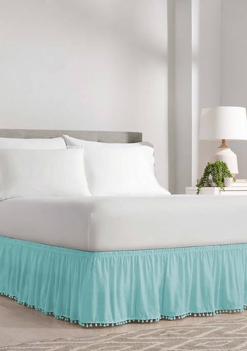 Adjustable Pom Pom Fringe Bed Skirt