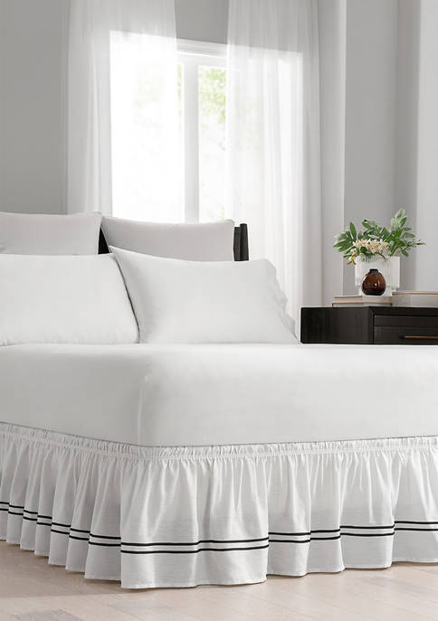 Adjustable Baratta Stitch Embroidered Bed Skirt