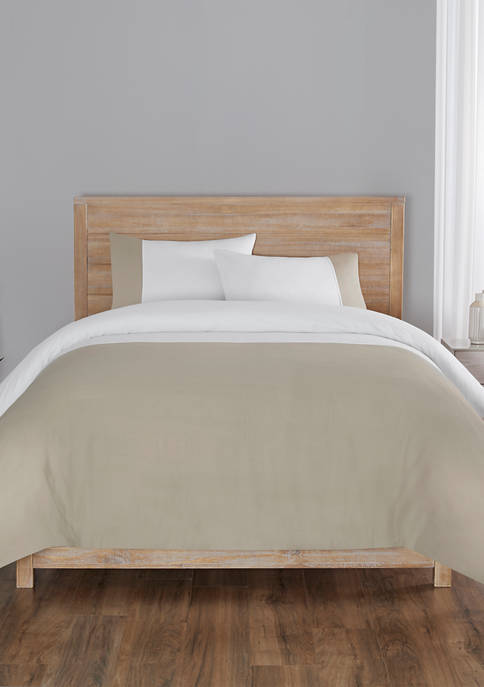 Kinsley Solid Chambray Color Block 3 Piece Comforter Set