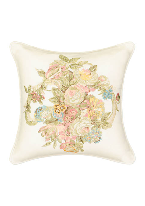 Spring Bling Embroidered Decorative Pillow