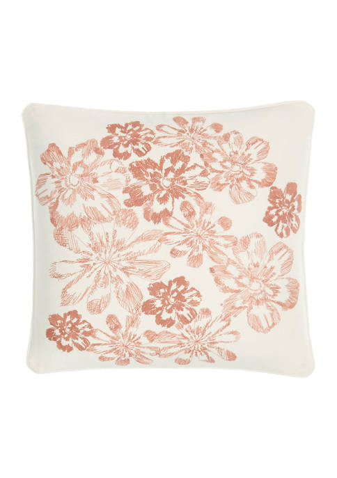 Aqua Fleur 16 in x 16 in Embroidered Pillow