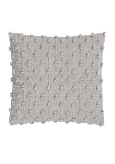 Aqua Fleur 20 in x 20 in Woven Textured Pillow