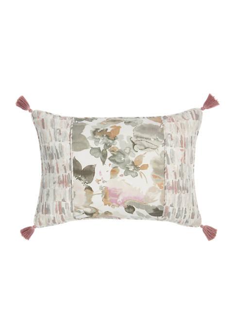 Aqua Fleur Pieced Decorative Pillow