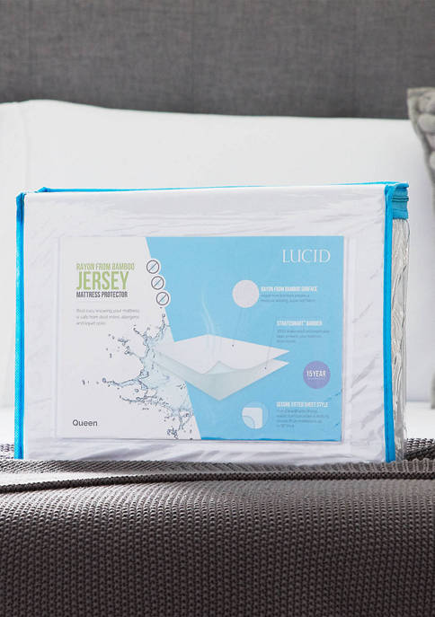 LUCID Dream Collection Bamboo Jersey Mattress Protector