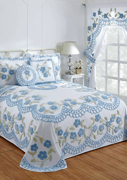 Bloomfield Collection Floral Design 100% Cotton Tufted Unique Luxurious Bedspread
