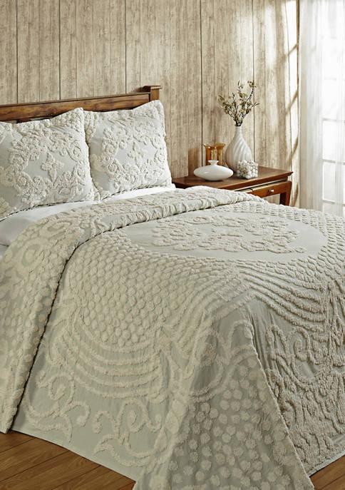 Florence Collection Medallion Design 100% Cotton Tufted Unique Luxurious Bedspread