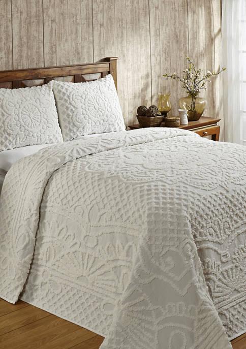 Trevor Collection Medallion Design 100% Cotton Tufted Unique Luxurious Bedspread Set