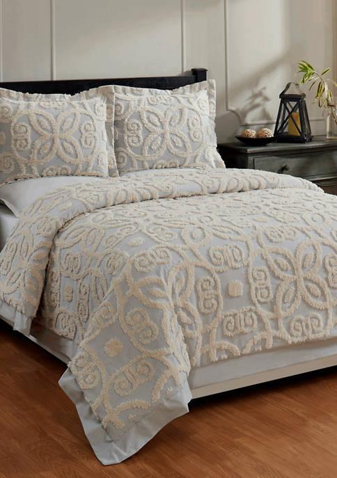 Eden Comforter Set 100% Cotton Tufted Unique Luxurious Soft Plush Chenille