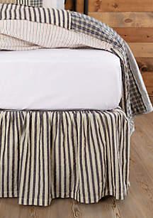 Ashton & Willow Gray Farmhouse Gathered Seersucker Haven Bed Skirt