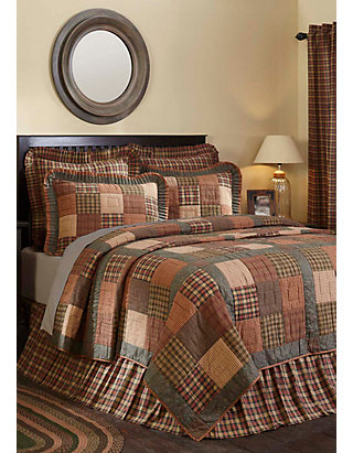 Ashton Willow Green Primitive Bedding, Primitive Quilt Bedding